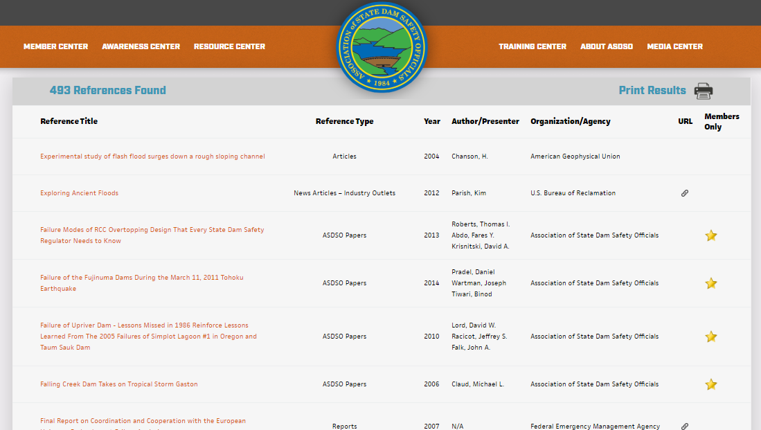Now Available! Search ASDSO's Dam Safety Resource Database